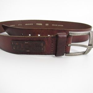 FOSSIL Men's Brown Leather Belt 36